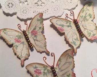 Vintage Rose Rose Gold Copper Glass Bodied Butterflies DarlingArtByValeri Set for Scrapbooking Embellishment Mini Albums Cards Wedding Gifts