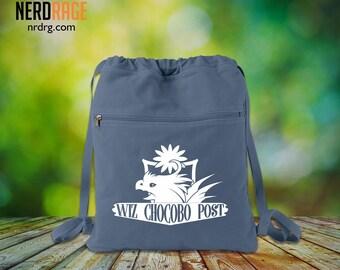 Chocobo Canvas Cinch Bag - Cotton Canvas Drawstring Bag - Final Fantasy Inspired Bag - Custom Bags Available