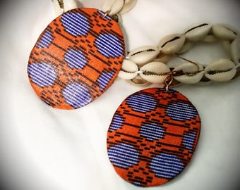 Orange and Blue African print fabric Earrings, Afropunk, Afrocentric, Boho