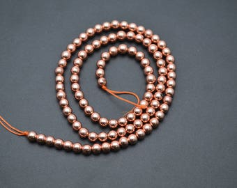Smooth Hematite Rose Gold color Electroplating Round Loose Beads 2mm~12mm