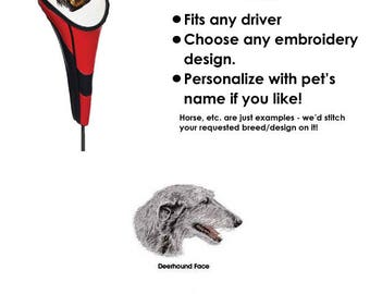Deerhound Vinyl Golf Head Cover - Personalized - Embroidered