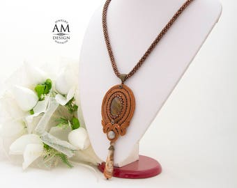 Birthday Gift For Her Gemstone Necklace Beaded Necklace Brown Necklace Handmade Jewelry Gift Soutache Necklace Boho Necklace
