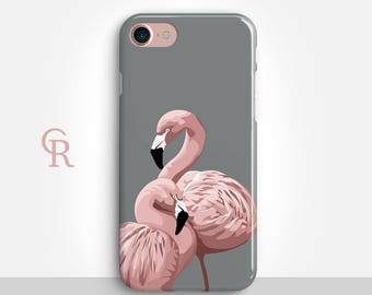 Flamingo iPhone 7 Case - Clear Case - For iPhone 8 - iPhone X - iPhone 7 Plus - iPhone 6 - iPhone 6S - iPhone SE Transparent Samsung S8 Plus