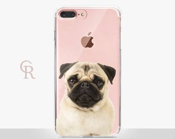 Pug iPhone 8 Plus Clear Case - Clear Case - For iPhone 8 - iPhone X - iPhone 7 Plus - iPhone 6 - iPhone 6S - iPhone SE Transparent - Samsung