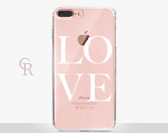 Love Clear Phone Case - Clear Case - For iPhone 8, 8 Plus, X, iPhone 7 Plus, 7, SE, 5, 6S Plus, 6S,6 Plus, Samsung S8,S8 Plus,Transparent