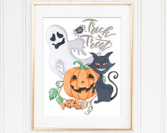 Autumn Art Print, Trick Or Treat, Pumpkin Printable, Instant Download, Halloween Decoration, Fall Wall Art, Halloween Printable,Seasonal Art