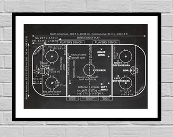 Vintage Ice Hockey Rink Patent, Ice Hockey Print, Hockey Gift, Hockey Decor, Mancave decor, Gift for him, Hockey art, Hockey Rink