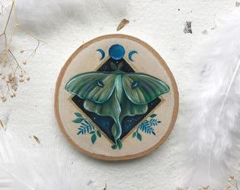 Cosmic Luna Moth | Original Painting on wood