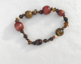 Brown and Green Beaded Stretchy Bracelet