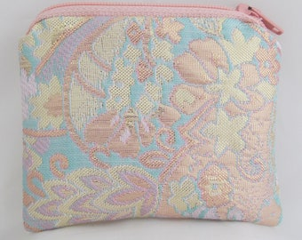 Small Peach, Pink, Gold and Teal Print Brocade and Satin Coinpurse Coin Purse Pendulum Crystals Zipper Bag Pouch Fancy