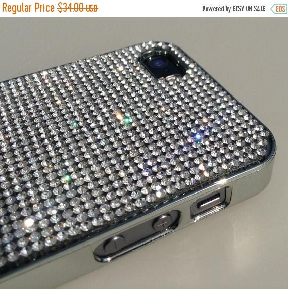 Sale iPhone 5 / 5s / 5se Clear Diamond Rhinestone Crystals on Silver Chrom Case. Velvet/Silk Pouch Bag Included, Genuine Rangsee Crystal Cas