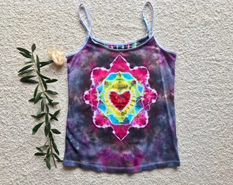 Heart Tie Dyed Womens SInglet Size Large (AU)
