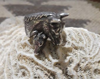 Sterling silver horse and colt ring, size 4 1/2