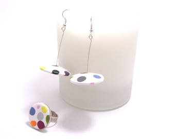 """Large polka dots - collection """"Flying saucer"""" earrings"""