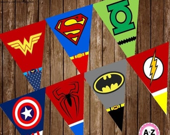 60% OFF Instant Download Superhero Banner, Large Pennants, 1 per page,60 Percent savings  Party Decorations, instant download, cupcake toppe