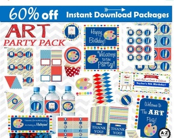 60% OFF Art Birthday Party Package, 100 items, Instant Download, DIY, Sale, Art Party, Chevron and Polka Dots, Red and Blue, Painting, Pac
