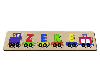 Wooden Name Train Puzzle Toy Game Your Child's Name On A Train With A Engine and Caboose 492779598