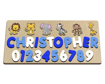 Jungle Friends Name and Number Wood Puzzle In Blues Great Puzzle For Boy Monkey, Giraffe, Zebra, Elephant, Tiger, Lion 586039399