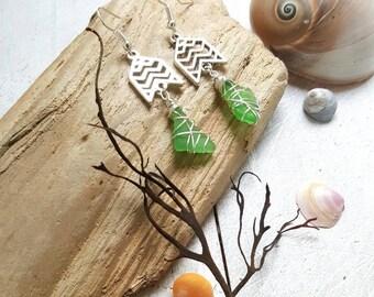 Boho Chevron Seaglass Earrings
