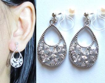 Teardrop CZ Crystal Clip-On Earrings |28A| Rhinestone Clip on Earrings Dangle Clip-ons Wedding Clip Earrings Bridal Clip on Silver Clipon