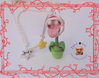 Carnivorous plant from mario in polymer clay necklace
