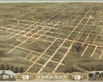 Poster, Many Sizes Available; Birdseye View Map Of Jackson, Tennessee 1870