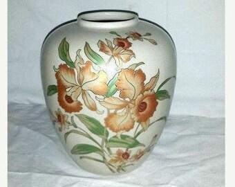 Andrea By Sadek Orchids Vase, Gilded Orchids, Orchids Vase, Crazing,Japan, Ginger Jar, Sadek Vase, Floral Vase,Peach, Coral, Orange,Vintage