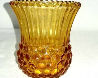 Amber Glass Toothpick Holder,Amber  Glass,Hobnail Toothpick Holder,Ribbed Toothpick Holder,Vintage Amber Glass,Collectibles,GHC,1980s