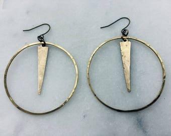 Boho Tribal arrow brass triangle hoops