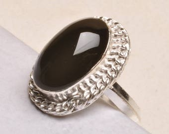 Natural Black Onyx Gemstone 925 Sterling Silver Ring Size 8 Hand Crafted