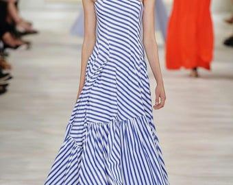 Designer inspired runway stripped bohemian maxi dress