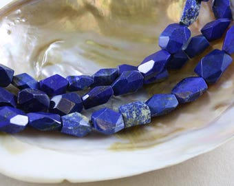 Blue Lapis Faceted Nugget Beads