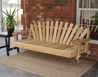 Brand New 6 Foot Cedar Wood Sunrise Porch Swing with Hanging Rope - Free Shipping