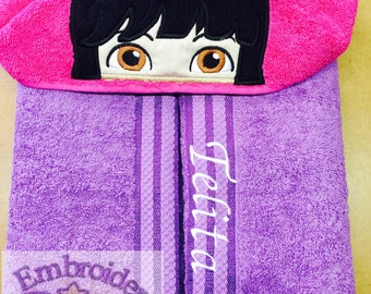 """Personalised Hooded Towel  """"Dora The Expolora""""  add name FREE"""