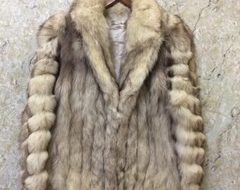 Birthday Sale Vintage Norwegian Blue Fox Fur Jacket, Made In Australia, Good Condition, Size M Rare