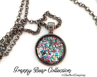 Handmade Rainbow Glitter Glass Pendant Necklace