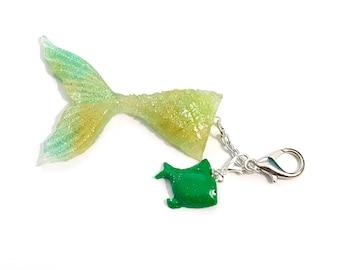 Mermaid Tail Charm With Green Fish / Planner Charm, Purse Charm, Zipper Pull