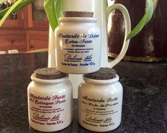 "Vintage Miniature 2.5"" French Moutarde Mustard Crocks Pots (3)"