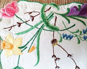 Vintage embroidered tablecloth with spring flowers design to corners and centre wreath, table linen, tea party