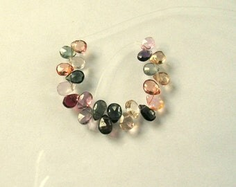 """Multi spinel  faceted pear beads AA+ 5-6.5mm 2"""" strand"""