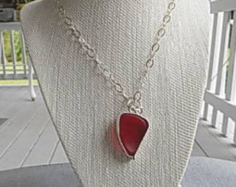 Red Sea Glass Necklace-Statement Piece
