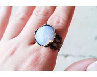 Opalite Bronze Adjustable Statement Ring