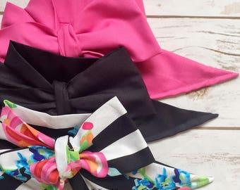 Gorgeous Wrap Trio (3 Gorgeous Wraps)- Pink Taffy, Noir & Midnight in the Garden Gorgeous Wraps; headwraps; fabric head wraps; bows