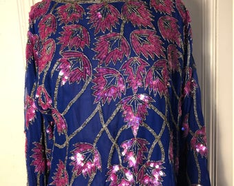 Vintage sequin and beaded blouse/Blue and pink/Size:Large/Medium