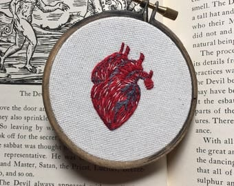 Small Three Inch Anatomical Heart Embroidery