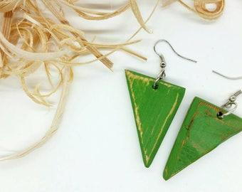Green Earrings, Green Wood Earrings, Distressed Earrings, Natural Earrings, Wood Jewelry, Dangle Earrings, Boho Earrings, EcoChic Earrings