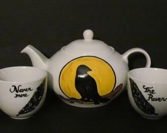 Nevermore Tea Set,Poe Tea set,Raven Tea Set,Painted Raven, Painted Teapot,Nevermore Teapot,Raven Tea,Crow Teapot,Blackbird teapot