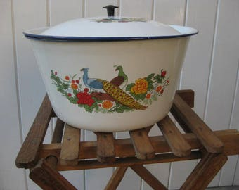Vintage white enamel casserole with lid and no handles..