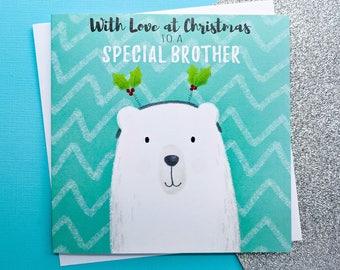 BROTHER Christmas Card -  Hand Drawn Polar Bear Card   Handmade Christmas Cards, Christmas Card for Brother, Brother Cards, Cards for Him
