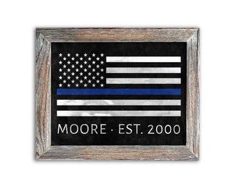 Rustic Law Enforcement Thin Blue Line Flag Print